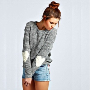 Amazon hot design autumn winter knitting sweater for women lady knit loving heart pullover sweater