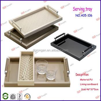China Hotel Supplier Pu Leather Serive Tray White Hotel Amenity ...