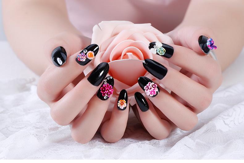 Korea 3d Wedding Nail Jewelry Elegant 3d Flower Nail Art Flower Nail ...