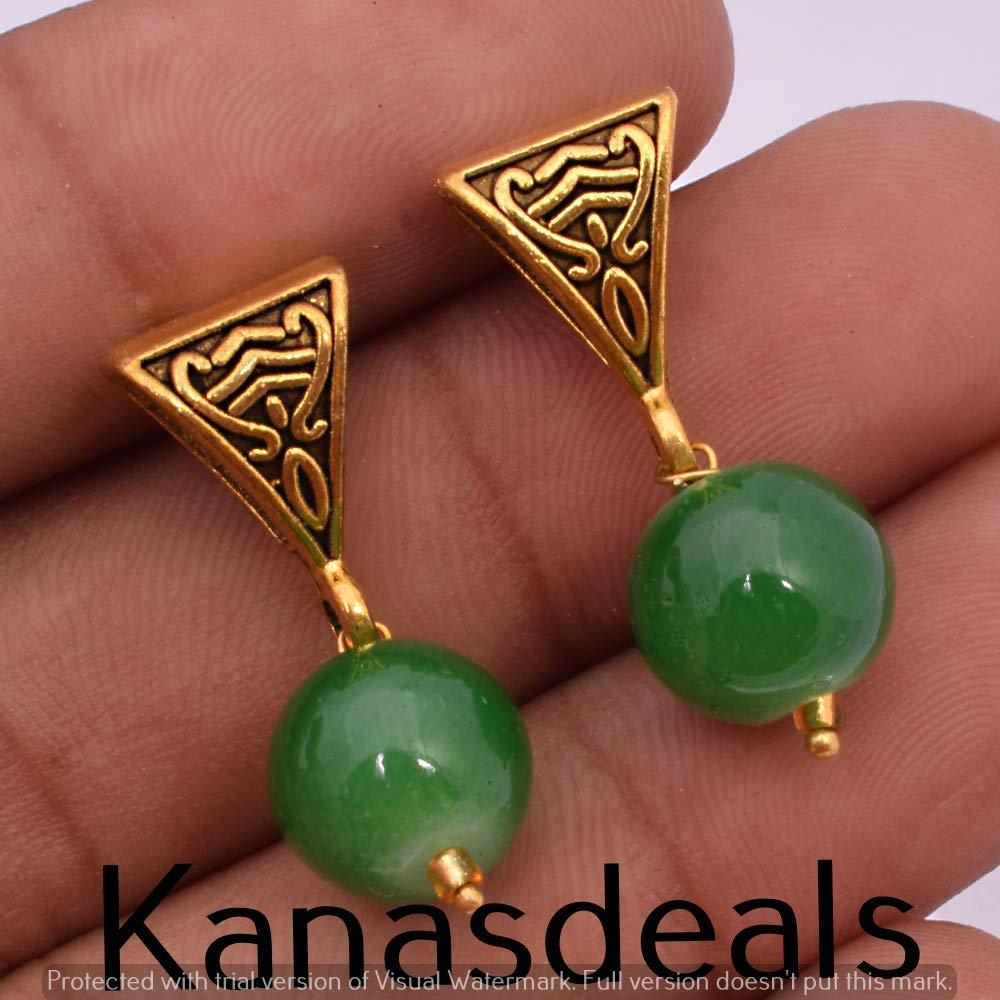Green Aventurian Gemstone Jewelry Handmade Earring E-226
