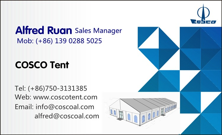 COSCO Aluminium and Pvc coated 10m outdoor tent with glass wall for special canteen