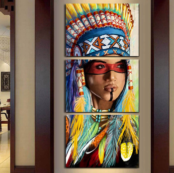 Modern Frame 3 Panel Native American Indian Feathered Canvas Painting For Living Room Wall Art