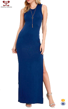 Latest Blue Fashion Sexy Slip Sleeveless Party Women Club Dresses