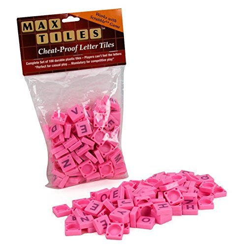 Max Tiles Cheat-Proof Plastic Scrabble Letter Tiles, Set of 100, Light Pink