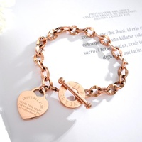 Custom Personalized Couple Heart Chain Lady Stainless Steel Bracelet