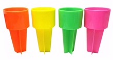 Pack of 4 Spiker Beach Sand Cup Coaster,Spikers Plastic Beach Beverage Sand Cup Holders