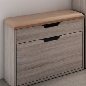 Modern Wooden Melamine Particle Board MDF Shoe Cabinet with Cushion
