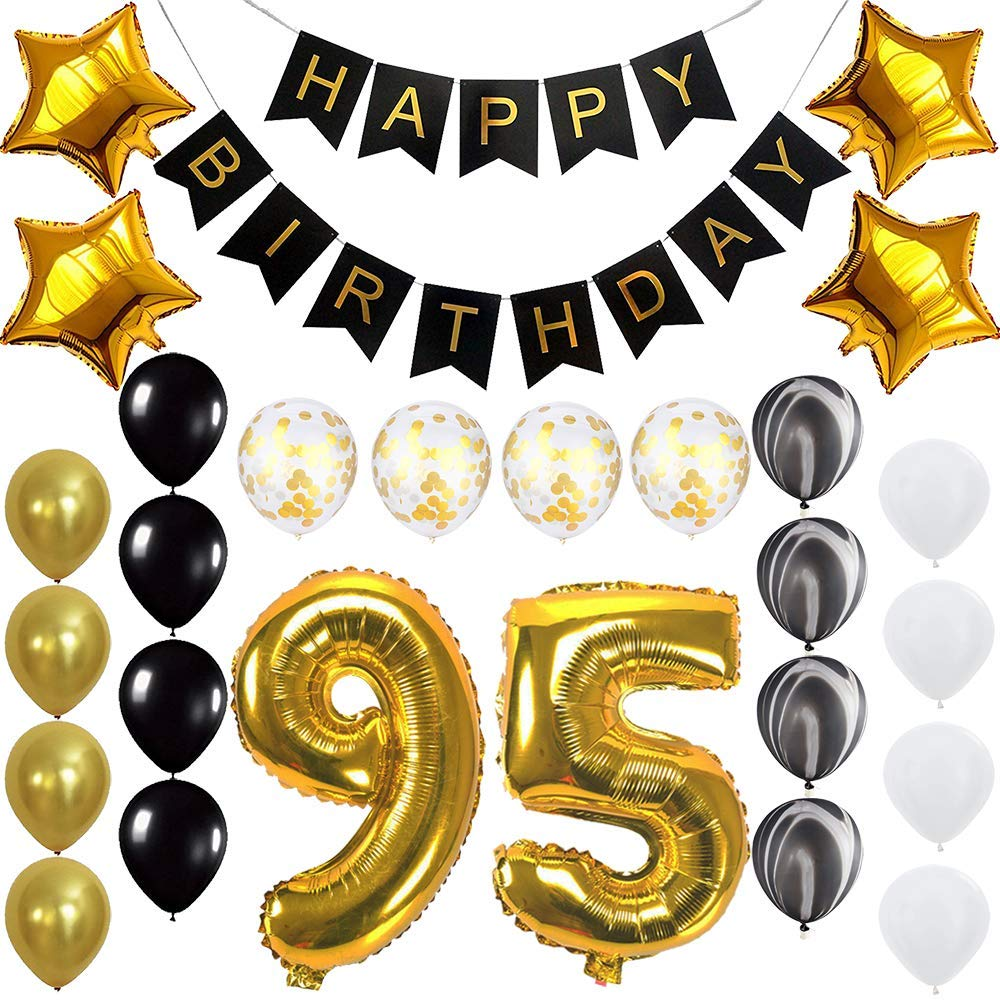 Get Quotations Happy 95th Birthday Banner Ballons Set For 95 Years Old Party Decoration Supplies Gold Black