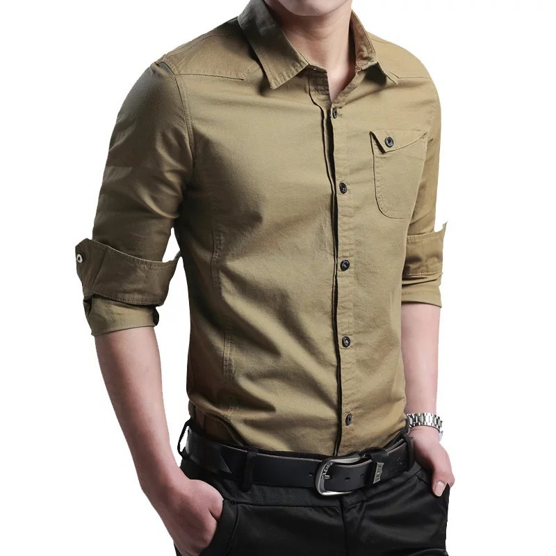 QK930 The new men's cotton long sleeve shirt young men's clothing korea shirt