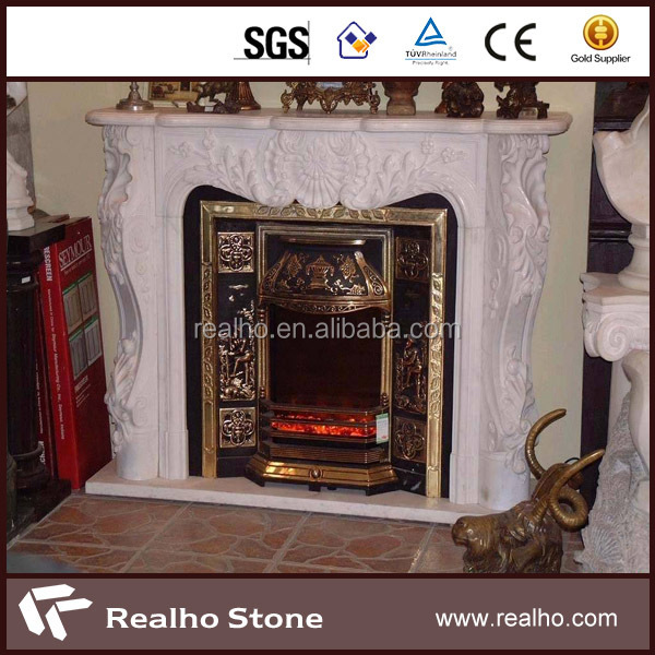 hot sale China fireplace carved statue pure white marble fireplace