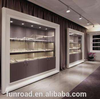 wall jewelry display fixtures with glass shelf hidden led light rh alibaba com jewellery display shelves