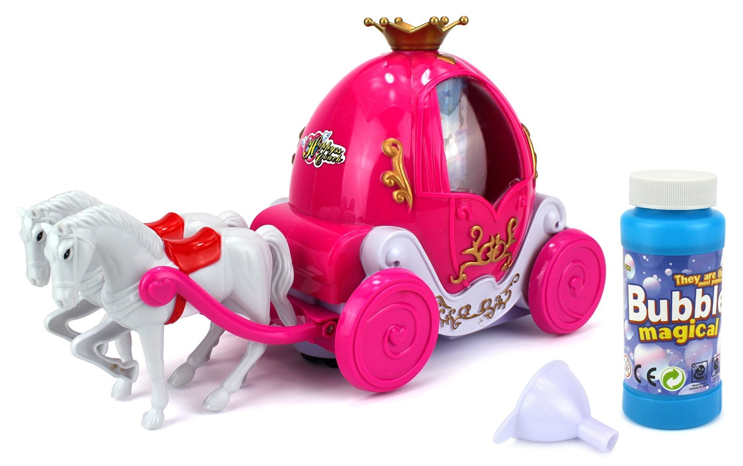 Buy Fairy Tale Dual Horse Princess Carriage Bubble Blowing Battery ...