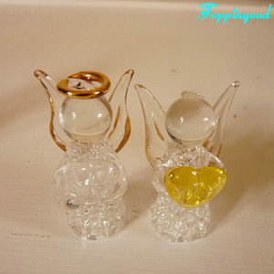 Upscale Hanging Pair Of Angel Glass Ornament For Wedding Decoration