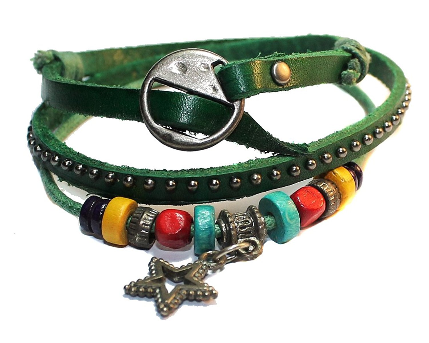 Fashion Bracelet or Necklace Leather Women Girls, Wood Bead Matal Star Engraved Triple Leather, Green