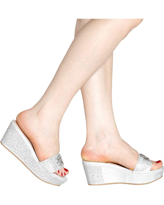 5a60330405b6 Get Quotations · Nature Breeze Women s Dressy Open Toe Rhinestone Gem Slip  On Wedge Sandals