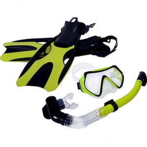 Diving Glass Mask Snorkel Goggles With Anti-fog Tempered Lens Full Dry Snorkel Dive fins flippers combo set