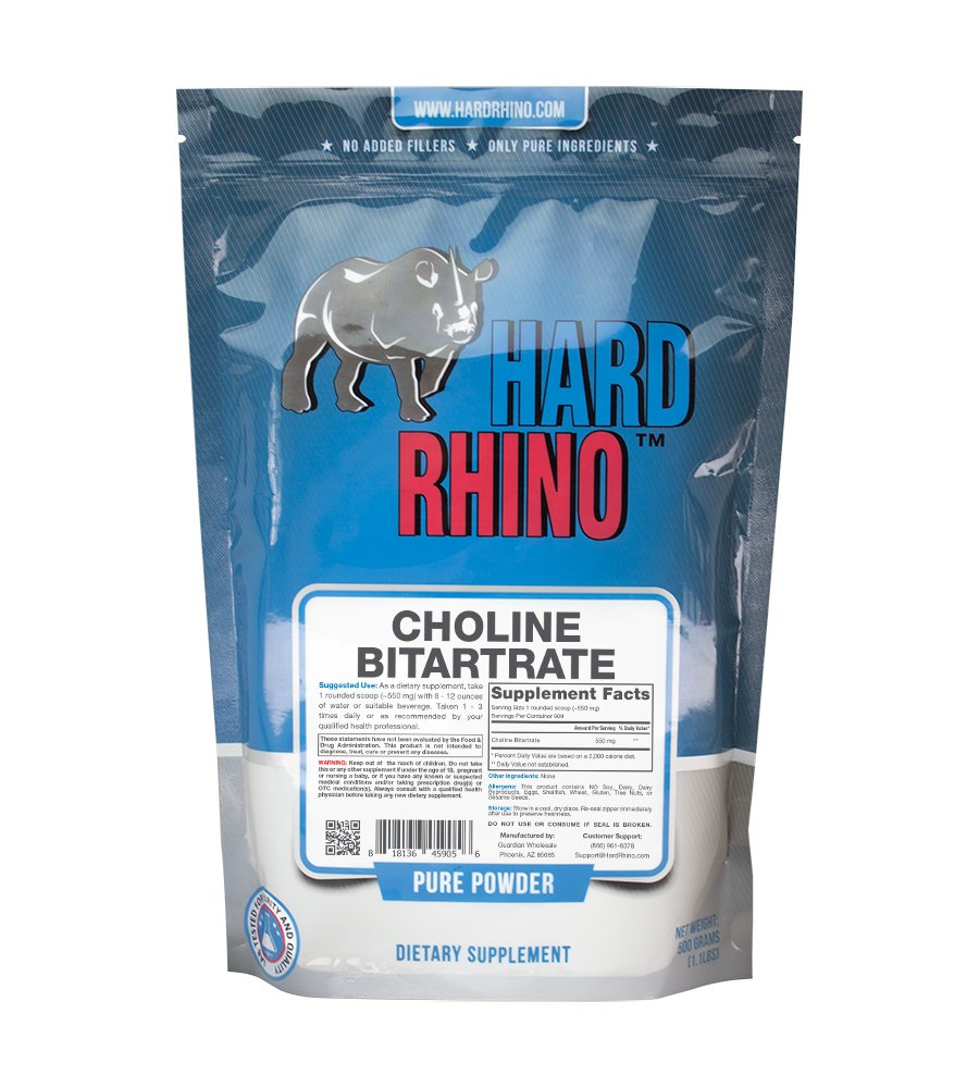 Hard Rhino Choline Bitartrate Powder, 500 Grams (1.1 Lbs), Unflavored, Lab-Tested, Scoop Included