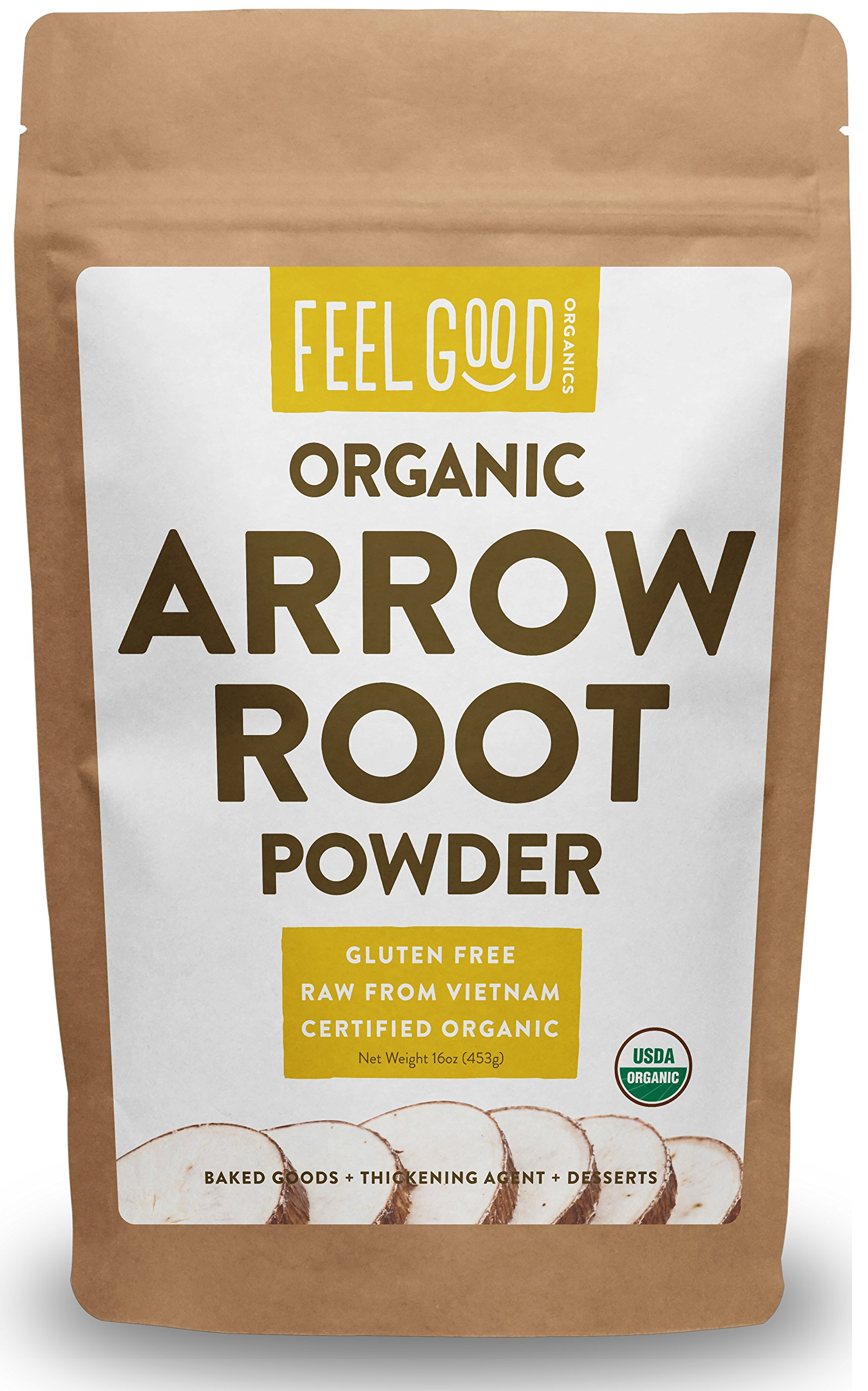 Organic Arrowroot Powder (Flour) - 1 Pound Resealable Bag (16oz) - 100% Raw From Vietnam - by Feel Good Organics
