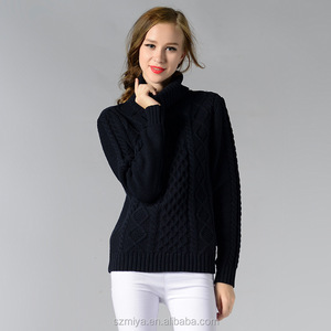 Cheap selling long sleeve winter pullover sweater woman turtleneck sweater