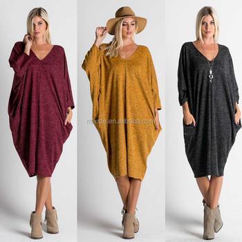 e1343a032b Mature Femme Robe Pull Nouveau Col V Manches Longues Chiné Boxy Tricot  Drapé Robe Designer Une