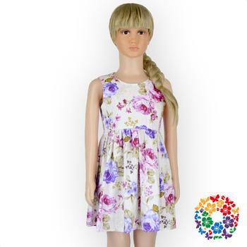5a42a8ba84e99b8 Нарядвечерние платье для девочек с цветочным принтом хлопчатобумажные платья  с принтом От 1 до 6 лет