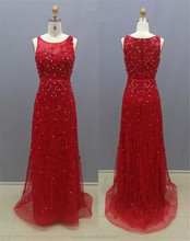 2017 Wholesale Fashion Red Color Beaded Lace Evening Dresses