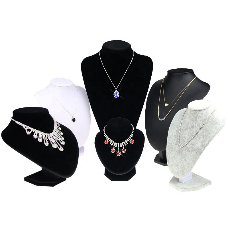 Portable Black Velvet Wooden Pendant Jewelry Bust Necklace Display  Set Stand