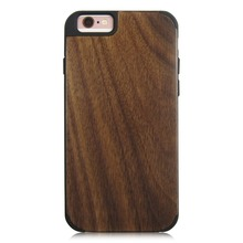 Real wooden case round corner phone shell PC bottom stick wood phone case for iPhone 6 7