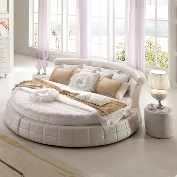 bedroom furniture modern leather round bed