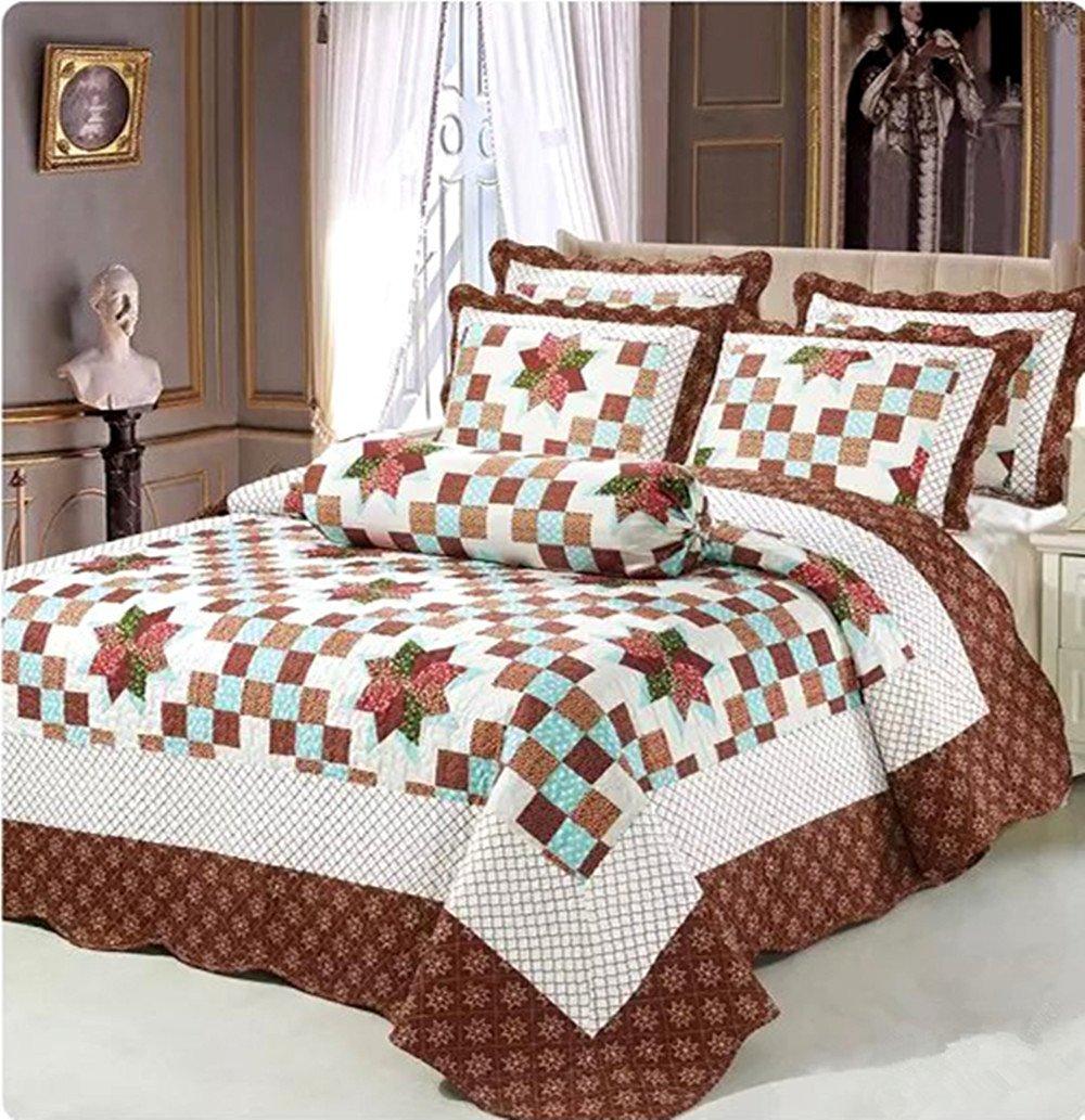 Auvoau Star Bedding Quilts Set Plaid Quilt Set Patchwork Quilt Set 3pc (2)