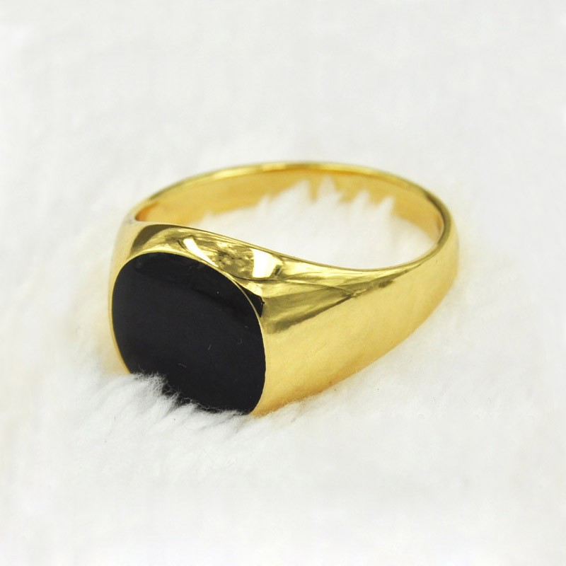 2018 Plated Gold Ring Black Stone Design Rings Jewelry For Men and