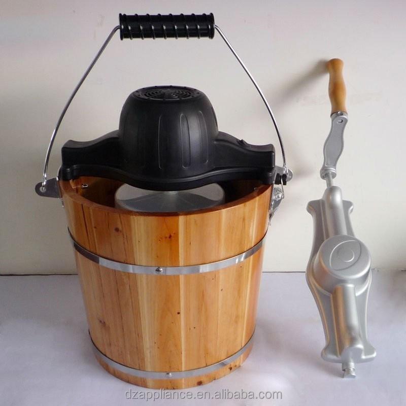 4qt en bois seau ice cream maker sorbeti re id de produit 213029463 - Sorbetiere manuelle bois ...