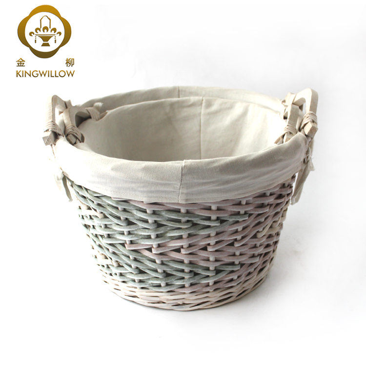 KINGWILLOW,Willow Material Storage Basket with Handle for Sundries