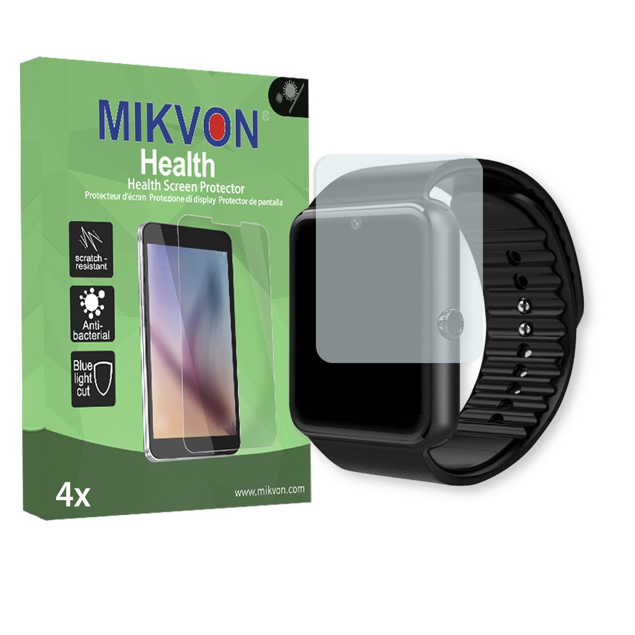"MIKVON 4X Health Screen Protector LaTEC 1.54"" Bluetooth Smart Watch Antibacterial BlueLightCut Foil - Retail Package Accessories (Intentionally Smaller Than The Display Due to its Curved Surface)"