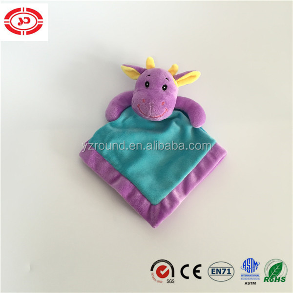 Purple head embroidered eyes mouth feature with blue body baby tender wash blanket