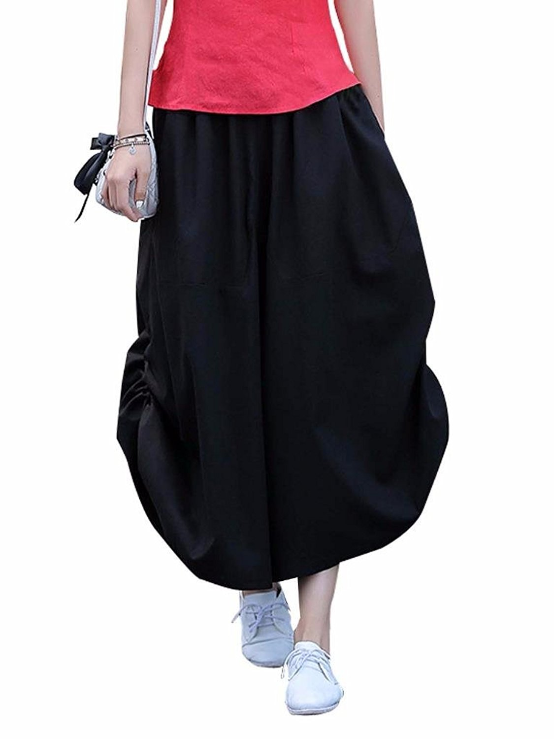851eea02486 Get Quotations · MUST WAY Women s Solid Linen Dressy Pants Wide Leg Stretch  Leggings Lantern Skirt Trousers