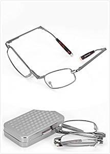 285c8beb4 Get Quotations · 1 Pair Lightweight Mini Compact Aluminum Eyeglasses Case &  Anti Fatigue Clear Vision Metal Full Frame