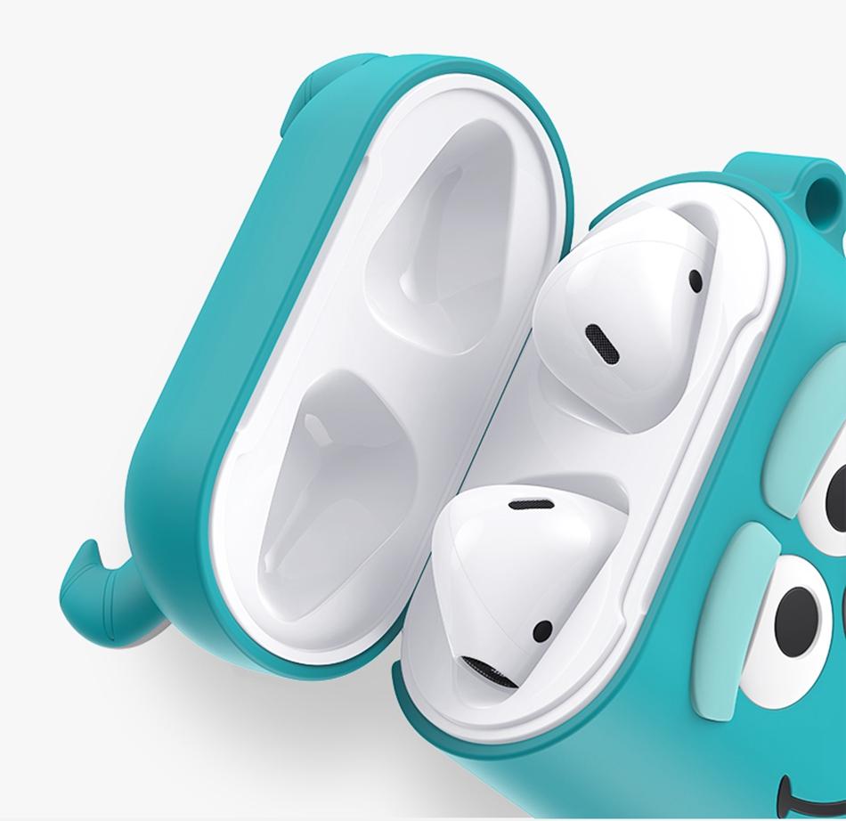 Sveglio creativo 3D Caso Del Fumetto Del Trasduttore Auricolare Senza Fili Con Anello Per Airpods iPhone