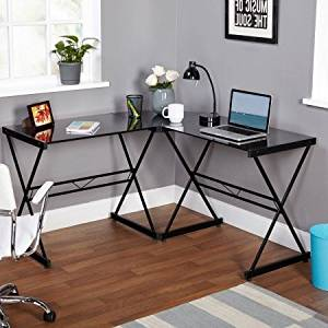 Black Metal and Glass L-shaped Computer Desk, Tempered Glass L-shaped Desk, Tempered Glass Desk Top, Open Storage, Computer Desk with Durable Metal Frame, Bundle with Expert Guide for Better Life