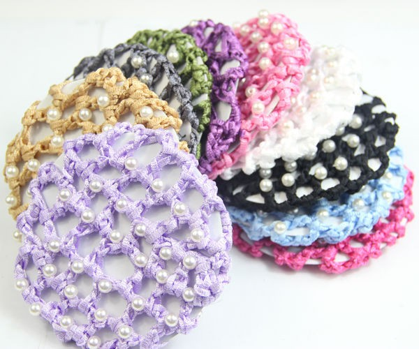 BT00013 Cute Beautiful Bun Cover Snood Hair Net Ballet Dance Skating Crochet with Diamond