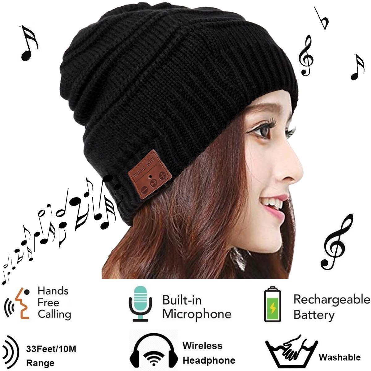 94f6bdd89fe Bluetooth Hat Winter Warm Men Women Boys Girls Teen Beanie Knit Hat  Wireless Headphone With Mic