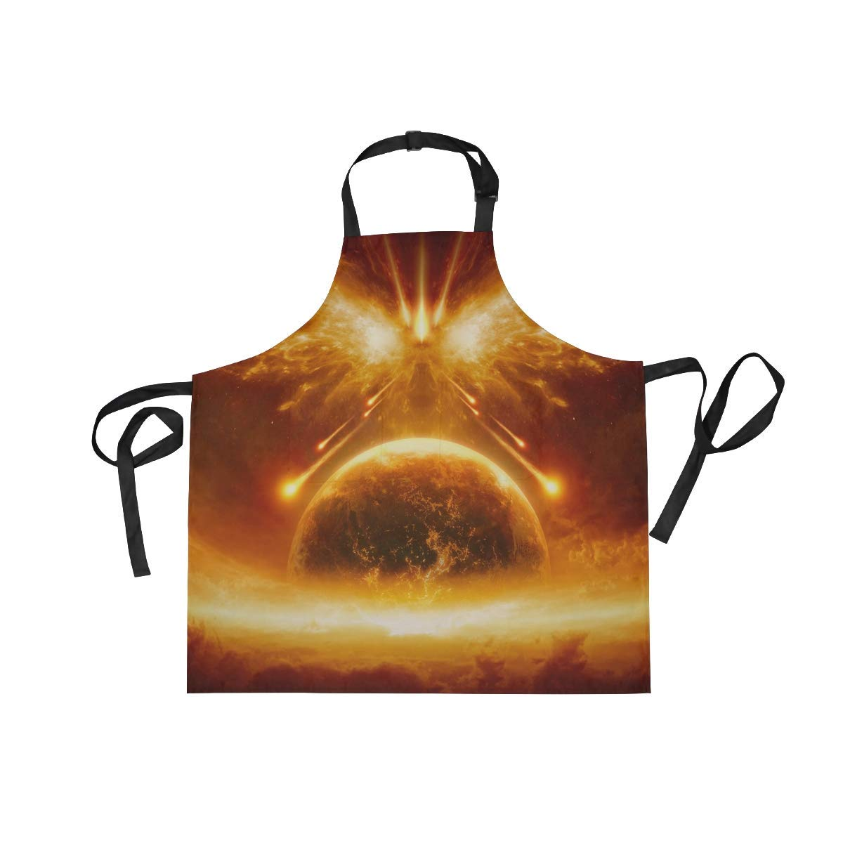 Unisex Apron End of World Majestic Space Fire Earth Adjustable Apron with Pockets for Men Women Kitchen Personal Decor Cooking Baking Kitchen Gardening Waist Apron Adult Apron,Twill,Multicolor