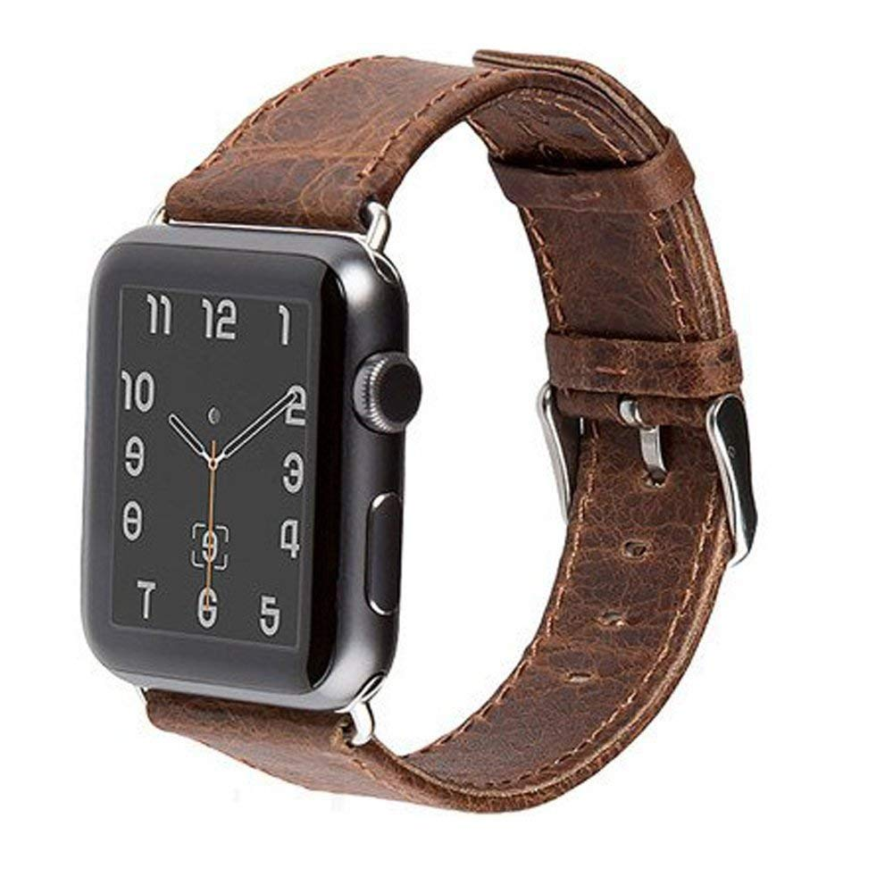 Special Genuine Leather Strap for Apple Watch with Stainless Steel Lugs and Buckle - Series 1, 2 & 3, Gift Ready Box (Coffee 42mm)