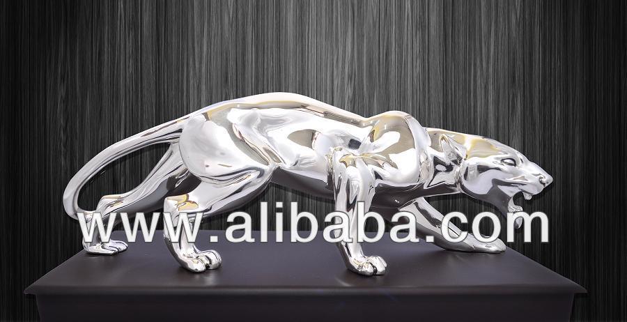 Silver Jaguar Statue