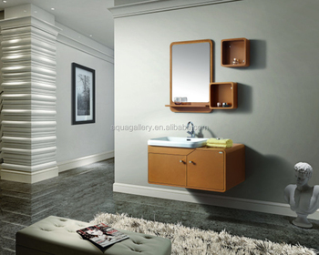 Single Art Sink Wall Mounted Oak Wood Mirrored Make Up Bathroom