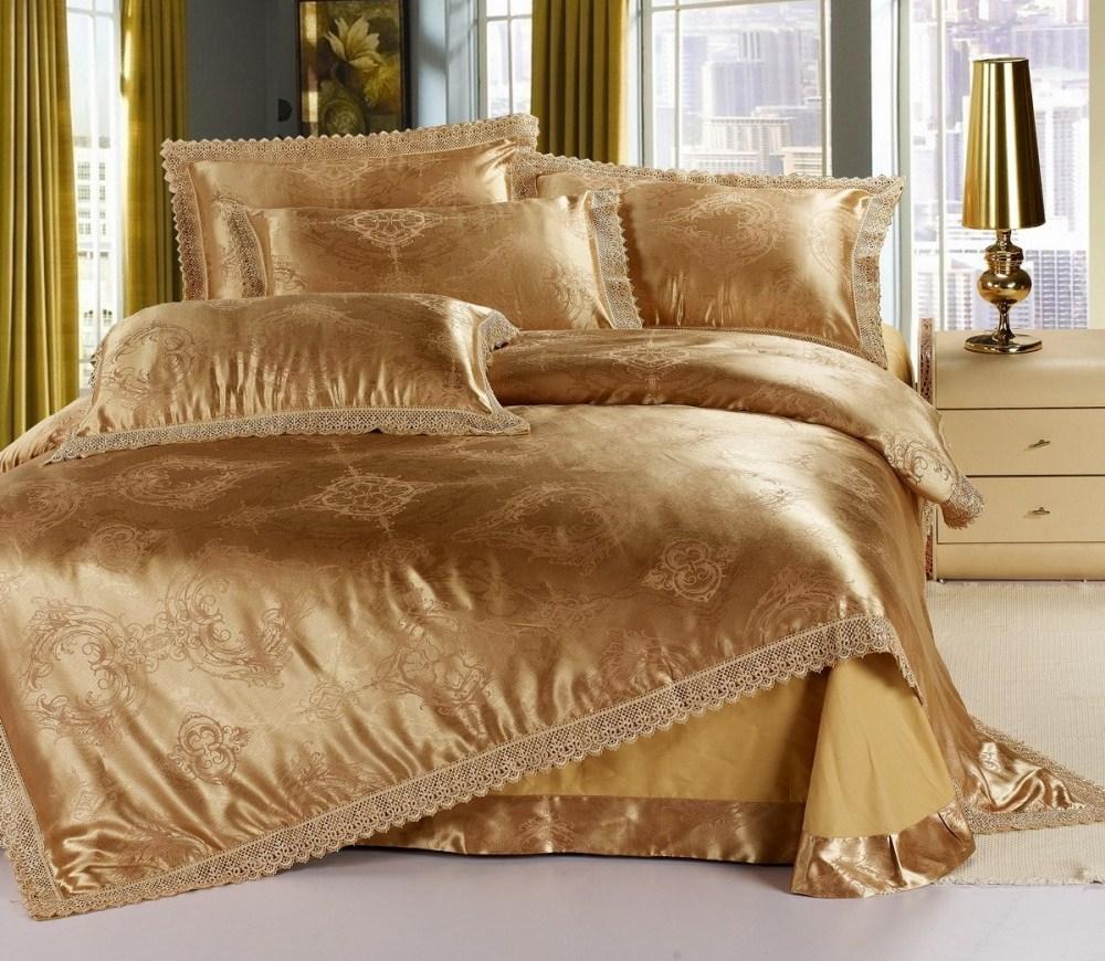 luxury gold jacquard satin cotton silk comforter sets duvet cover quilt classic euro design full. Black Bedroom Furniture Sets. Home Design Ideas