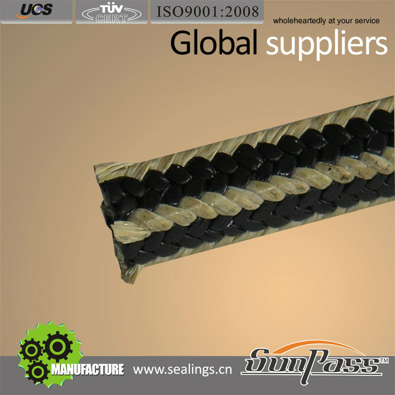 Industrial Rubber and Gasket Graphite PTFE with Kevlar Corner Sealing Rope Grease Packing