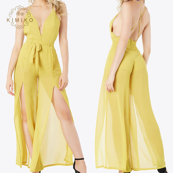 Sexy Spaghetti Strap Tiefer Sprung Frauen Jumpsuit Gelb Long Jumpsuit