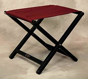 Folding Director Style Footstool w Aluminum Frame in Burgundy