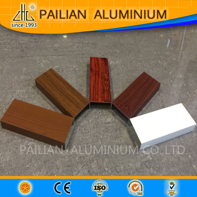Wood effect aluminium powder coatings profile,wood grain aluminium square tube,fluorocarbon coating aluminium profile
